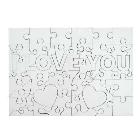 Puzzle lemn I Love You personalizat