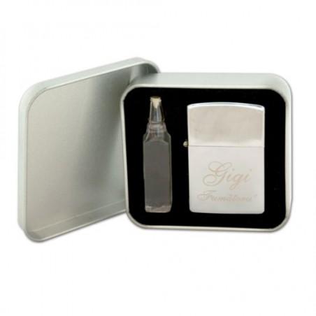 Bricheta tip Zippo(include cutie metalica + sticluta cu gaz)