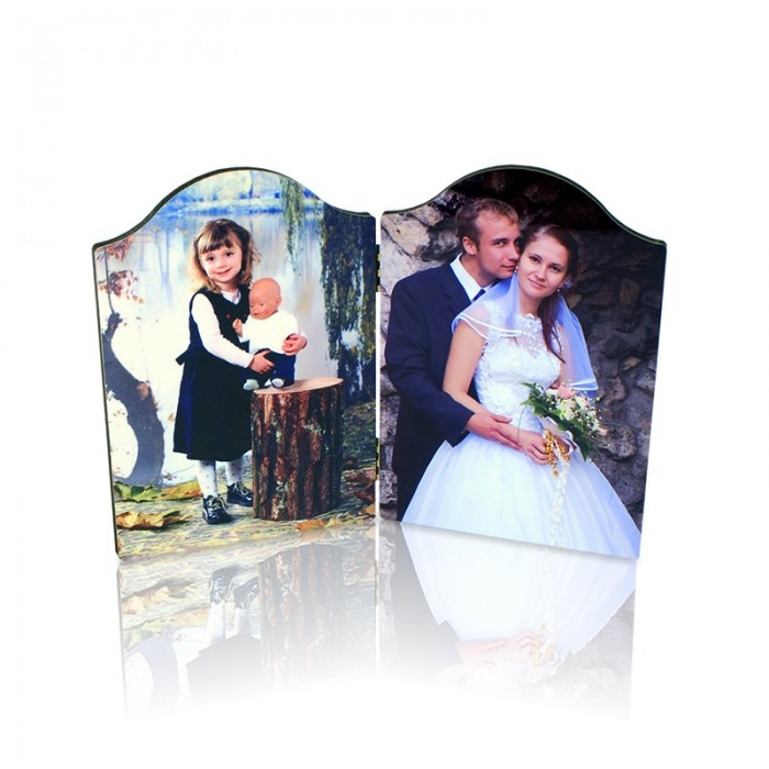 Placa foto dubla arciuta 13x18 cm