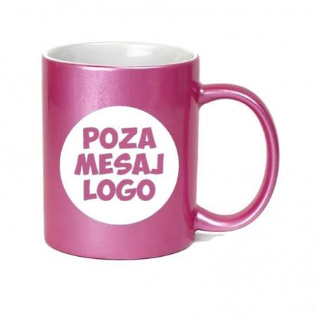Cana cu exterior metalic roz personalizata